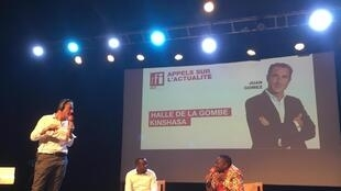 Kasongo Mwema Yambayamba et Bienvenu Matumo à la Halle de Gombe à Kinshasa