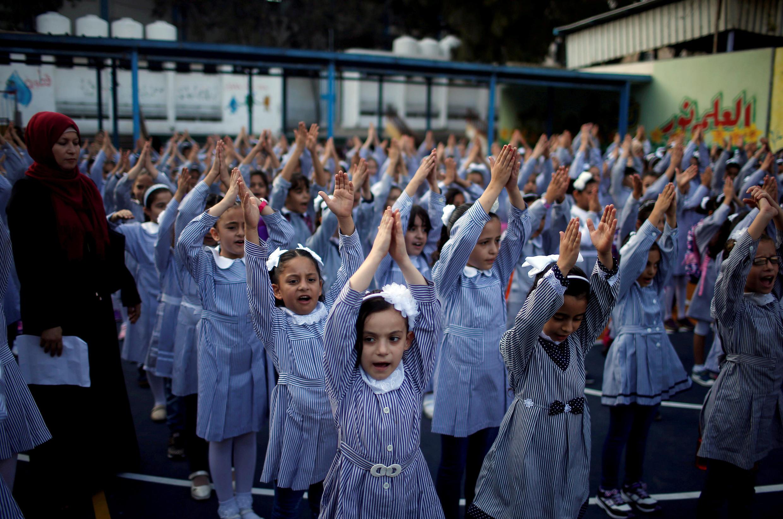 Escolares palestinas en Gaza City