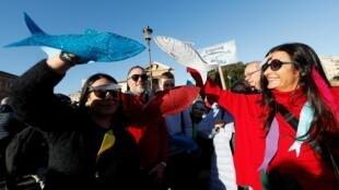 Cuộc tập hợp ôn hòa của phong trào Cá Mòi chống đảng cực hữu tại Roma ngày 14/12/2019.