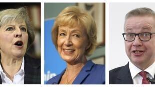 Entre três os concorrentes na votação de hoje estão Theresa May (e), Andrea Leadsom (centro) e Michael Gove.