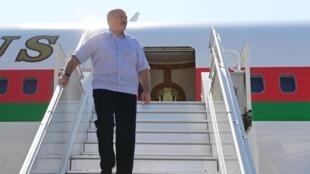 Alexandre Loukachenko à son arrivée à Sotchi, le 14 septembre 2020.