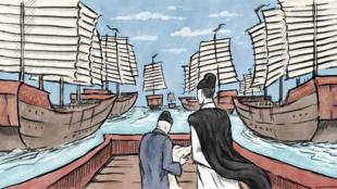 Entouré de ses jonques océaniques, l'eunuque d'origine musulmane Zheng He, amiral de la Grande Flotte des Ming pendant l'ère Yongle, au XVe siècle.