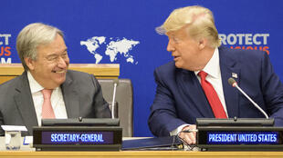 """联合国秘书长古特雷斯与美国总统特朗普共同参加由美国发起的""""在全球呼吁维护宗教自由""""主题会议。2019年9月23日"""