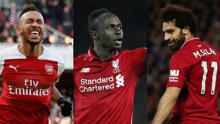 Le Gabonais Pierre-Emerick Aubameyang, le Sénégalais Sadio Mané et l'Egyptien Mohamed Salah (de gauche à droite) sont finalistes au titre de Joueur africain de l'année 2018.