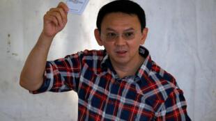 Le gouverneur sortant de la capitale indonésienne, Basuki Tjahaja Purnama alias «Ahok», le 15 février 2017 lors du vote.