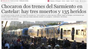 Site do jornal Clarín com a notícia do acidente entre dois trens no subúrbio de Buenos Aires nesta quinta-feira, 13 de junho.