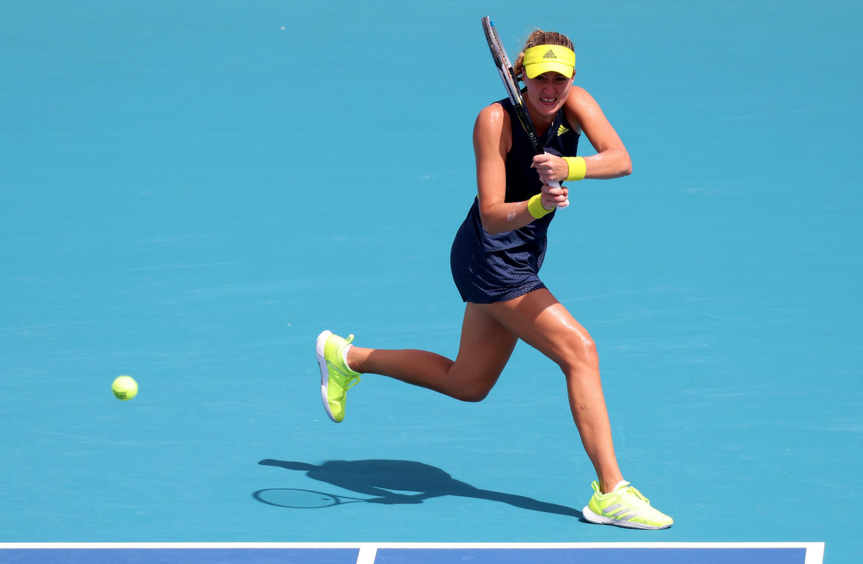 Kristina Mladenovic, lors du tournoi de Miami, le 24 mars 2021
