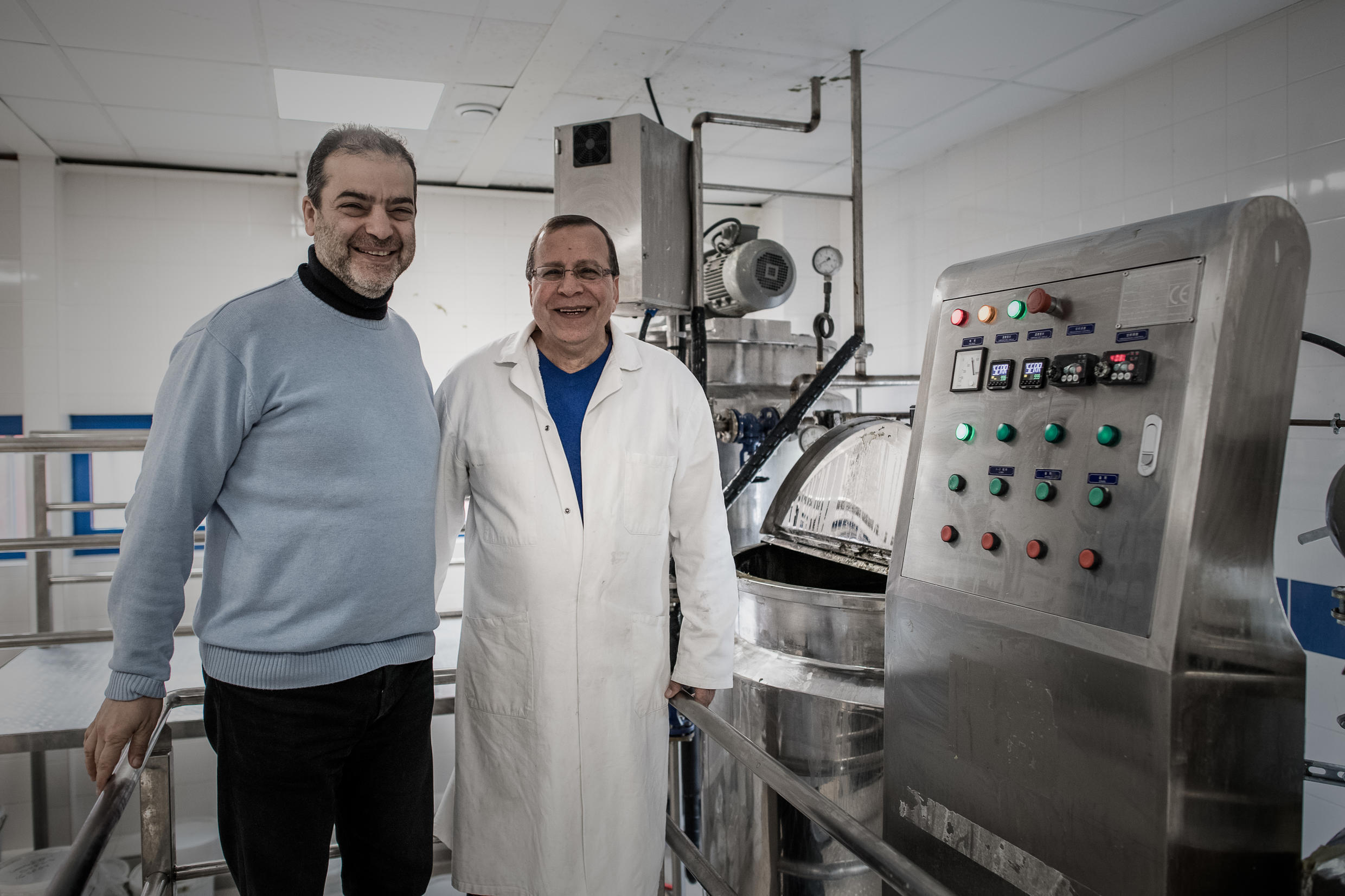 Samir Constantini (left) with his friend Hassan Harastani in the Alepia laboratory