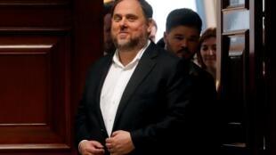 L'indépendantiste catalan Oriol Junqueras après avoir reçu son accréditation parlementaire au Parlement espagnol à Madrid, le 20 mai 2019.