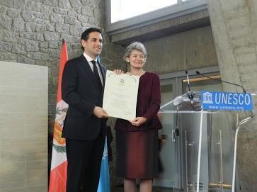 Juan Diego Florez al ser nombrado Embajador de Buena Voluntad de la UNESCO.
