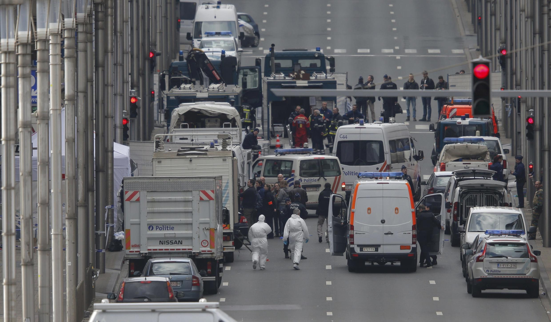 Belgian police at Maalbeek metro station Tuesday