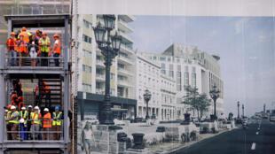 工人在哈瓦那街頭的一個酒店施工地點