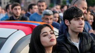 A Erevan. Depuis le 13 avril 2018, Nikol Pachinian a mobilisé des dizaines de milliers de personnes contre l'ancien président Serge Sarkissian.