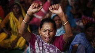 Une manifestation des victimes de Bhopal à New Dehli, le 10 novembre 2014, trente ans après le drame qui a coûté la vie à au moins 5 000 personnes.