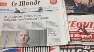 Primeiras páginas dos diários franceses de 27/3/2014