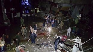Hiện trường vụ khủng bố đẫm máu tại Damas do Daech thực hiện ngày 21/02/2016.
