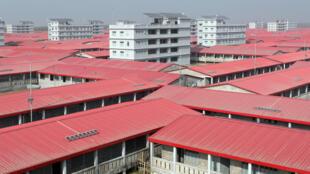 Un complejo de viviendas, donde se trasladó a refugiados rohingya, en la isla de Bhashan Char, en Bangladés, el 31 de enero de 2021