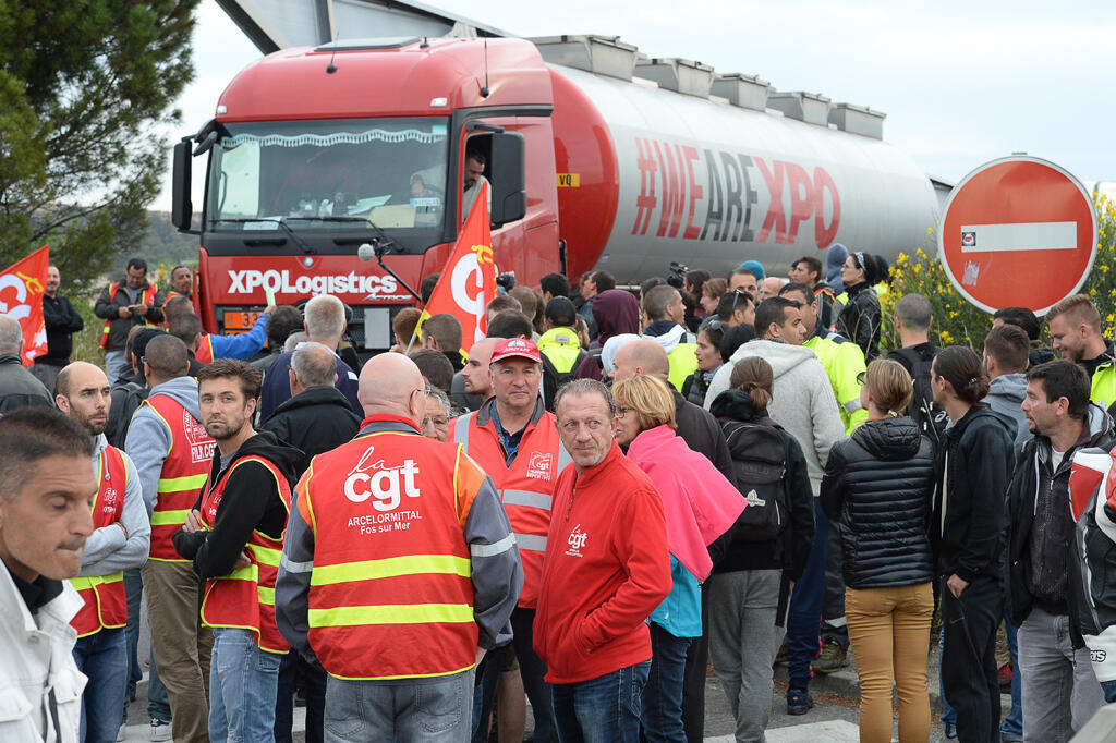 A mass picket at Vitrolles in the south of France on Thursday