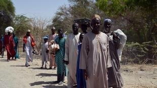 Displaced people forced to flee from Boko Haram, on the border of Niger and Nigeria.
