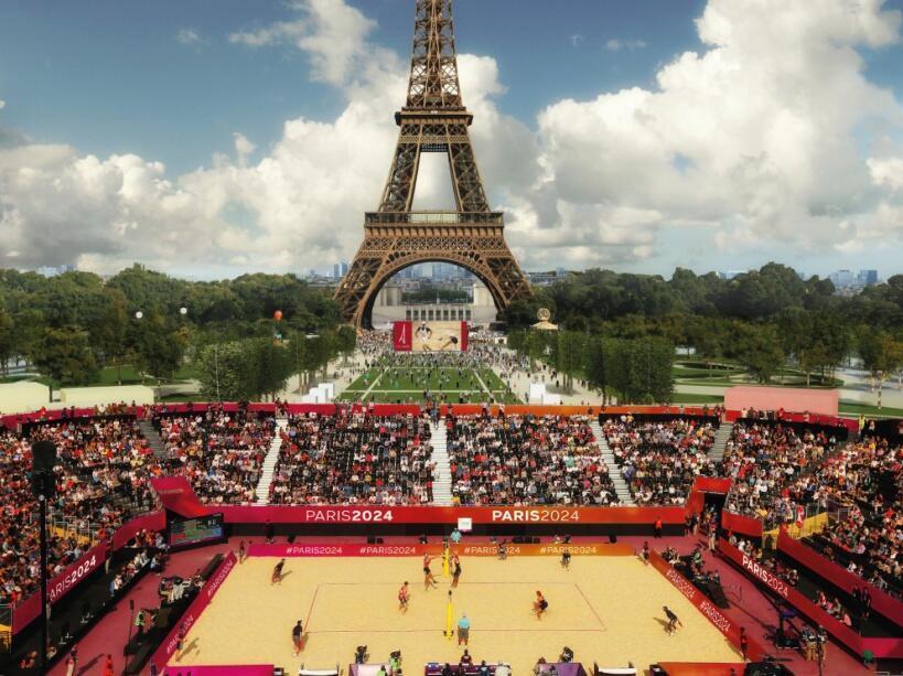 Sân thi đấu bóng chuyền dự kiến gần tháp Eiffel. Ảnh minh họa