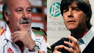 Os técnicos das duas equipes que disputam uma vaga para final da copa. A esquerda, o técnico espanhol, Vicente del Bosque, à direita, o técnico alemão Joachim Loew.