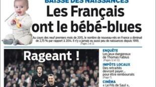 """""""Os franceses vivem um baby-blues"""" diz Le Parisien."""