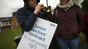 Junior doctors strike in West Bromwich, Britain.