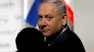 Le Premier ministre israélien Benyamin Netanyahu se rendant à une conférence à Jérusalem le 8 janvier 2020.