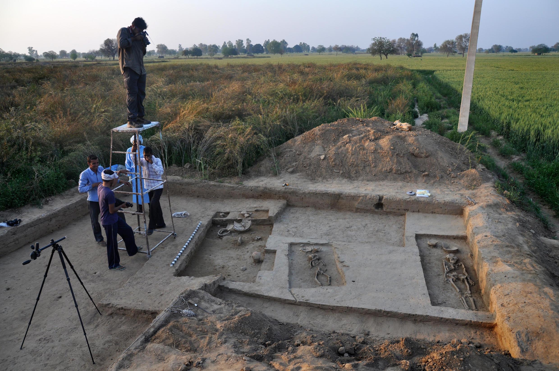 Ces squelettes ont des milliers d'années. Village de Rakhigarhi, 20 mars 2015.