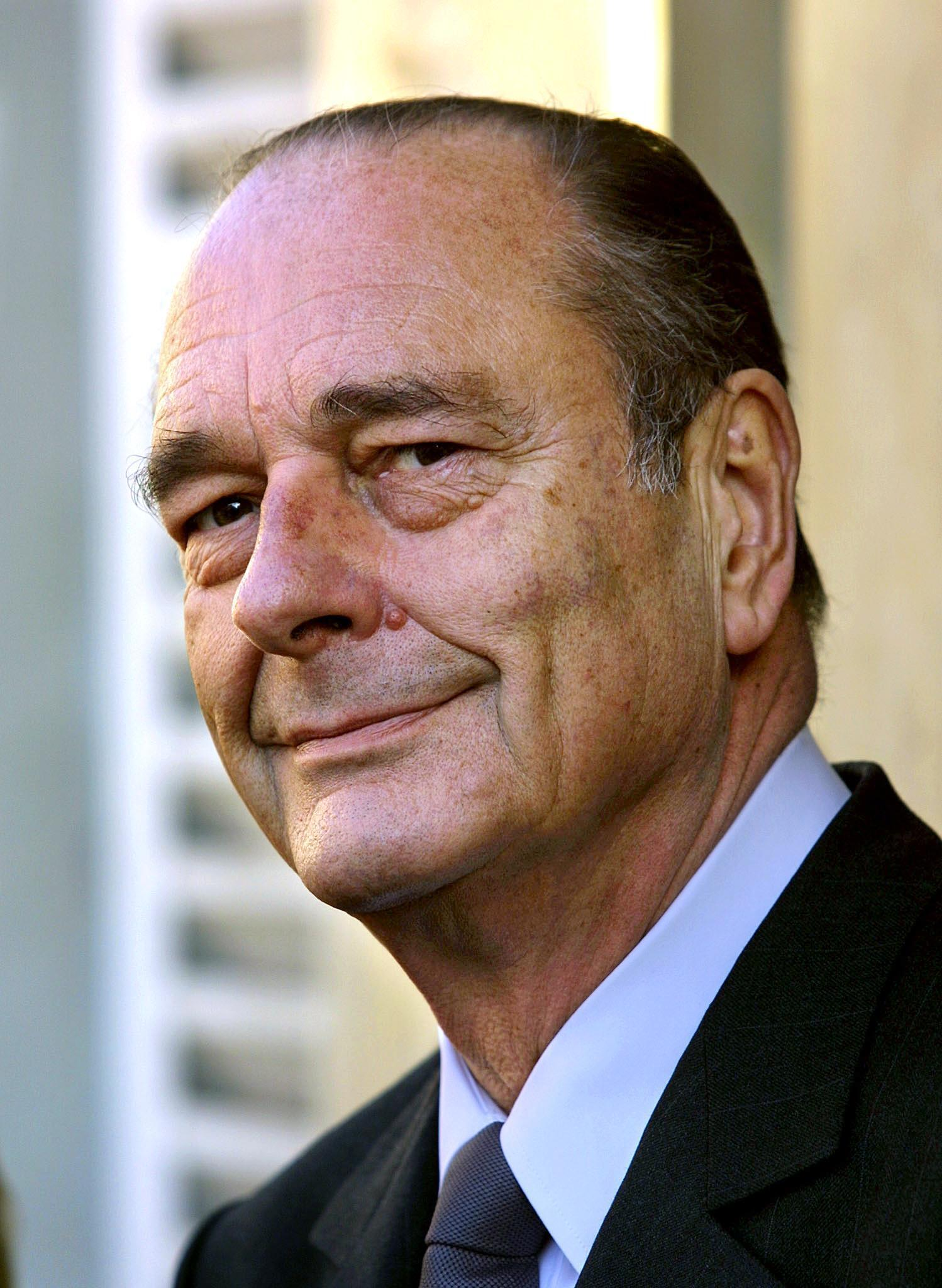 In this file photo taken on January 31, 2002 French President Jacques Chirac smiles during a visit in Provins. Former French President Jacques Chirac has died at the age of 86, it was announced on September 26, 2019.