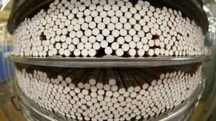Cigarettes during the manufacturing process, 30 April 2014.