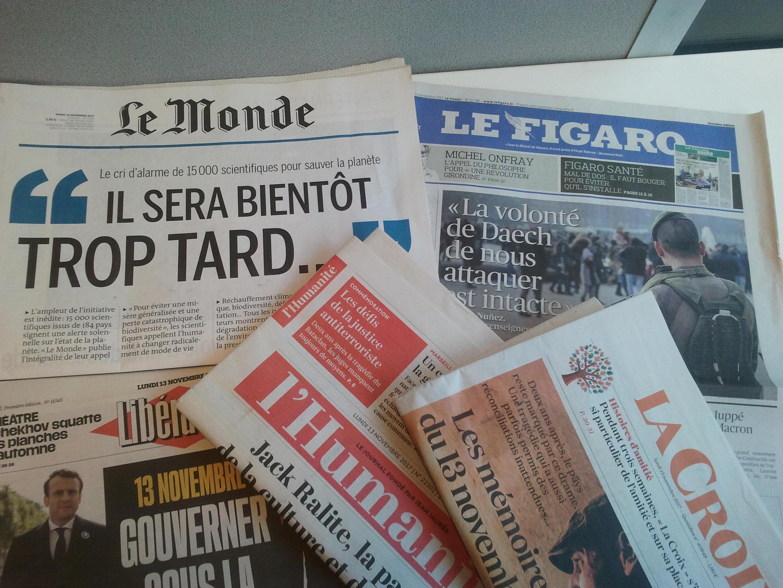 Primeiras páginas dos jornais franceses de 13 de novembro de 2017