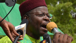 L'ancien président nigérien et actuel opposant Mahamane Ousmane, lors d'une manifestation à Niamey contre le pouvoir en place, le 15 juin 2014.