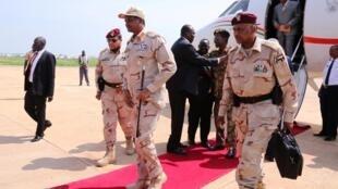 Le général Hemeti lors de son arrivée à l'aéroport de Juba au Soudan du Sud le 27 juillet 2019.