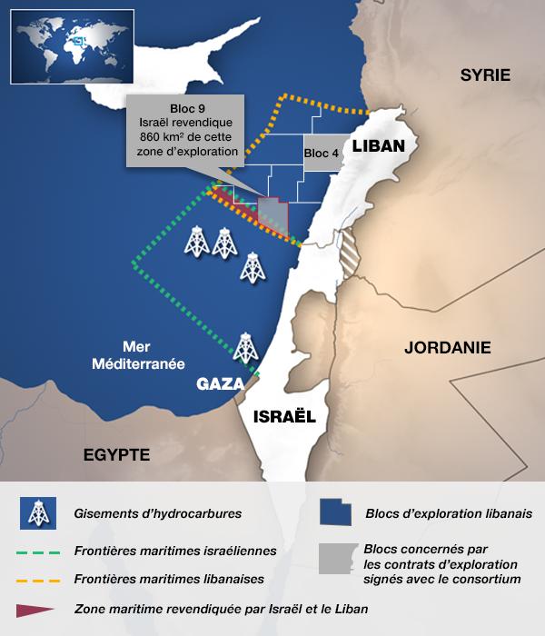 Les territoires maritimes libanais et israéliens et les zones litigieuses