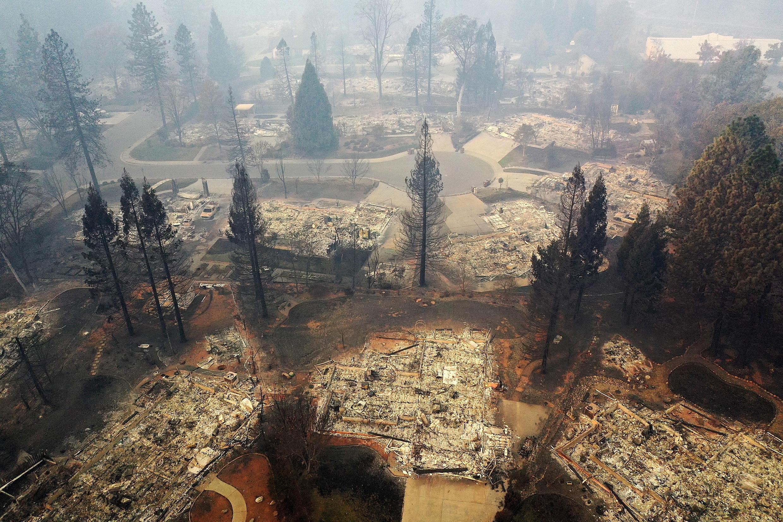 L'utilisation du drone a par exemple permis de réaliser ce cliché des ravages des incendies en Californie, le 15 novembre 2018.