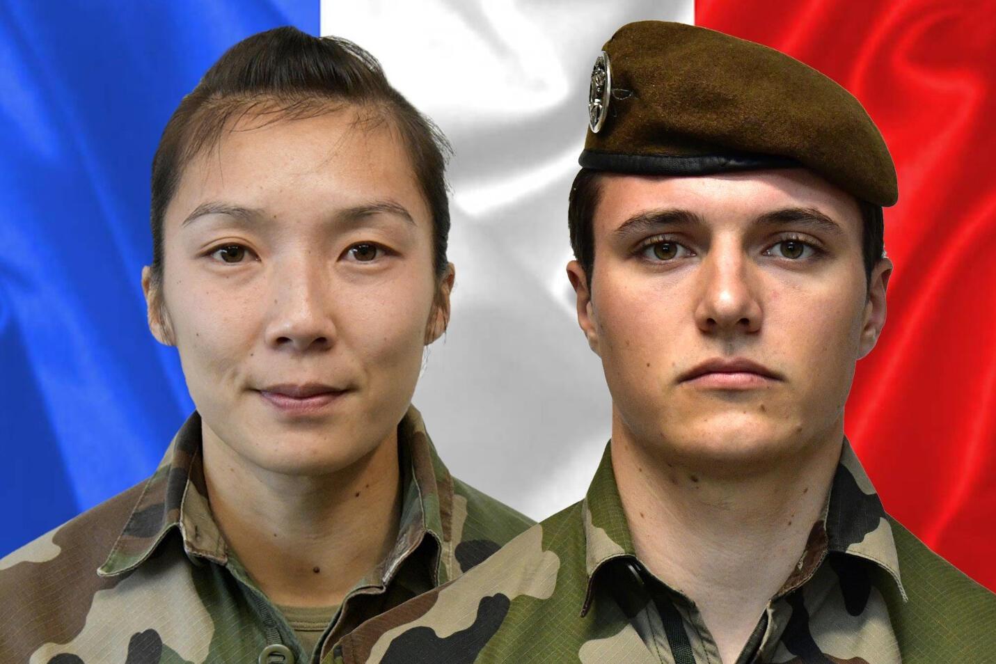 La sargento Yvonne Huynh (I) y el bricada Loic Risser, dos soldados franceses muertos en la explosión de una bomba en Malí. Foto publicada el 3 de enero de 2021 por el servicio de prensa  del ejército francés
