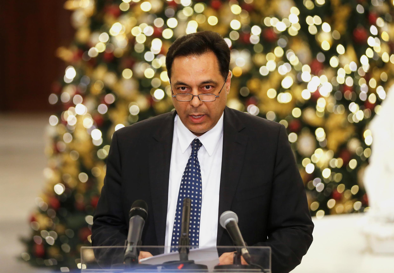 Tân thủ tướng Hassan Diab phát biểu với báo chí tại dinh tổng thống, Baabda, Liban, ngày 19/12/2019