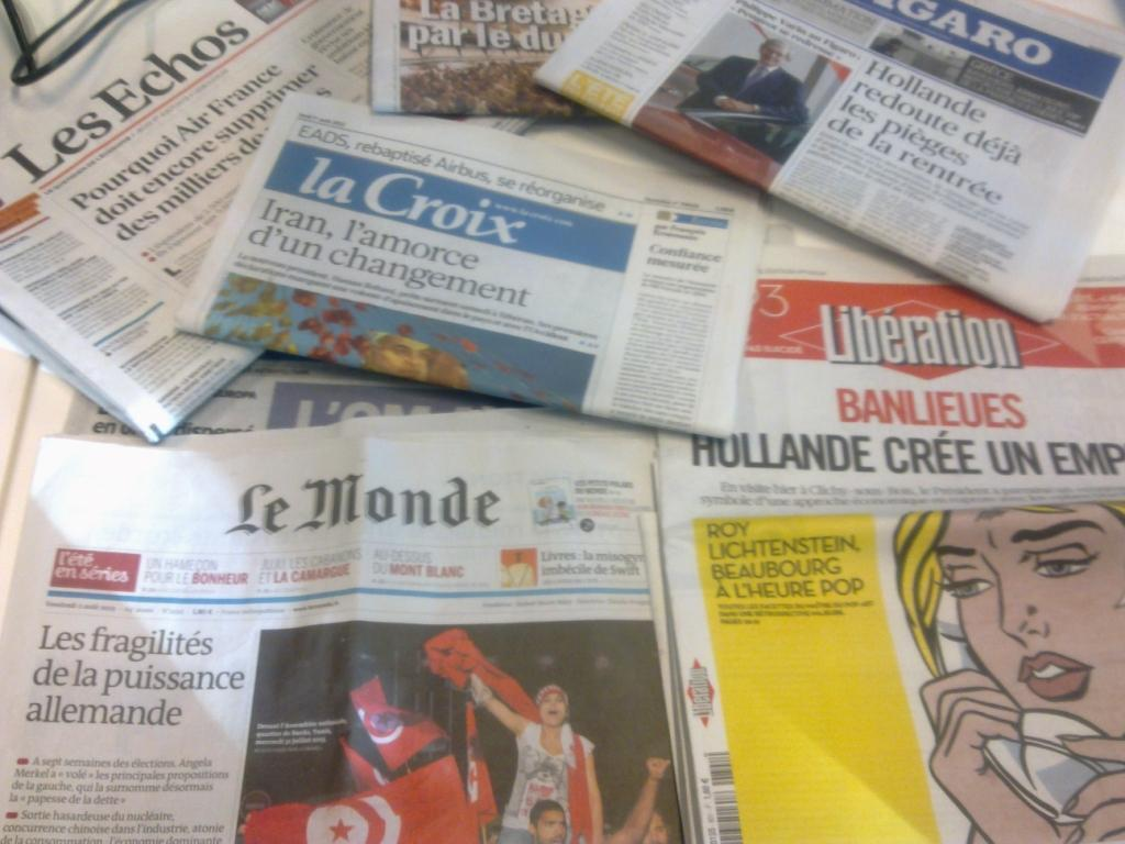 Capas dos diários franceses 1/08/2013