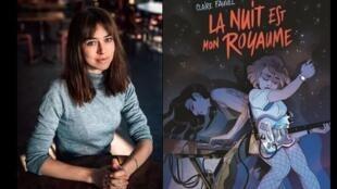 """Photographie portrait de Claire Fauvel et couverture de sa bande-dessinée """"La Nuit est mon royaume"""", publié aux éditions Rue de Sèvres."""
