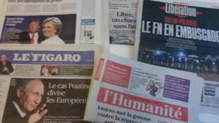 Primeiras páginas dos jornais franceses de 20 de outubro de 2016