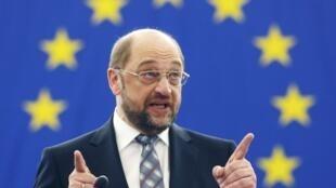 Martin Schulz le nouveau président du Parlement européen à Strasbourg, le 17 janvier 2012