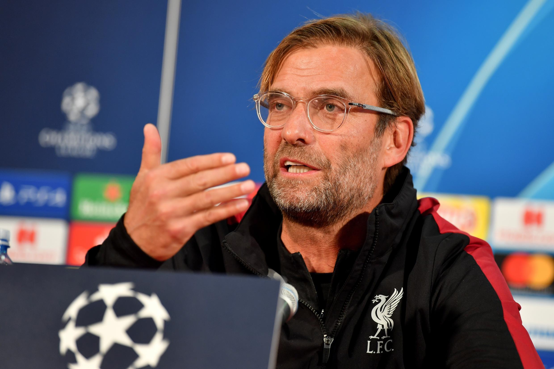 L'entraîneur de Liverpool, l'Allemand Jurgen Klopp, lors d'une conférence de presse, le 5 novembre 2018 à Belgrade, à la veille du match de Ligue des Champions (groupe C) contre l'Etoile Rouge