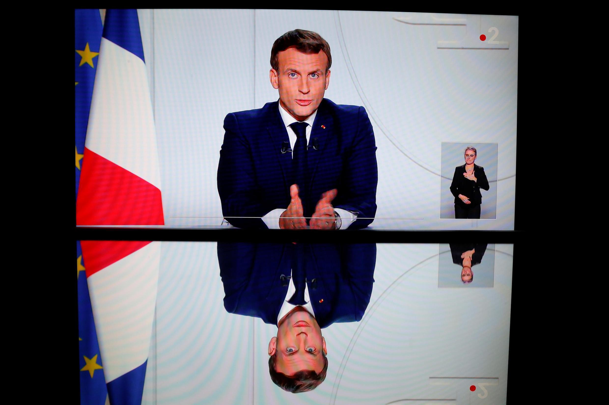 French President Emmanuel Macron announced a new general confinement to fight a surging second wave of the Covid-19 epidemic during a televised evening address from the Elysée presidential palace on 28 October 2020.
