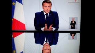 Le président Macron durant son allucution le 28 octobre 2020.