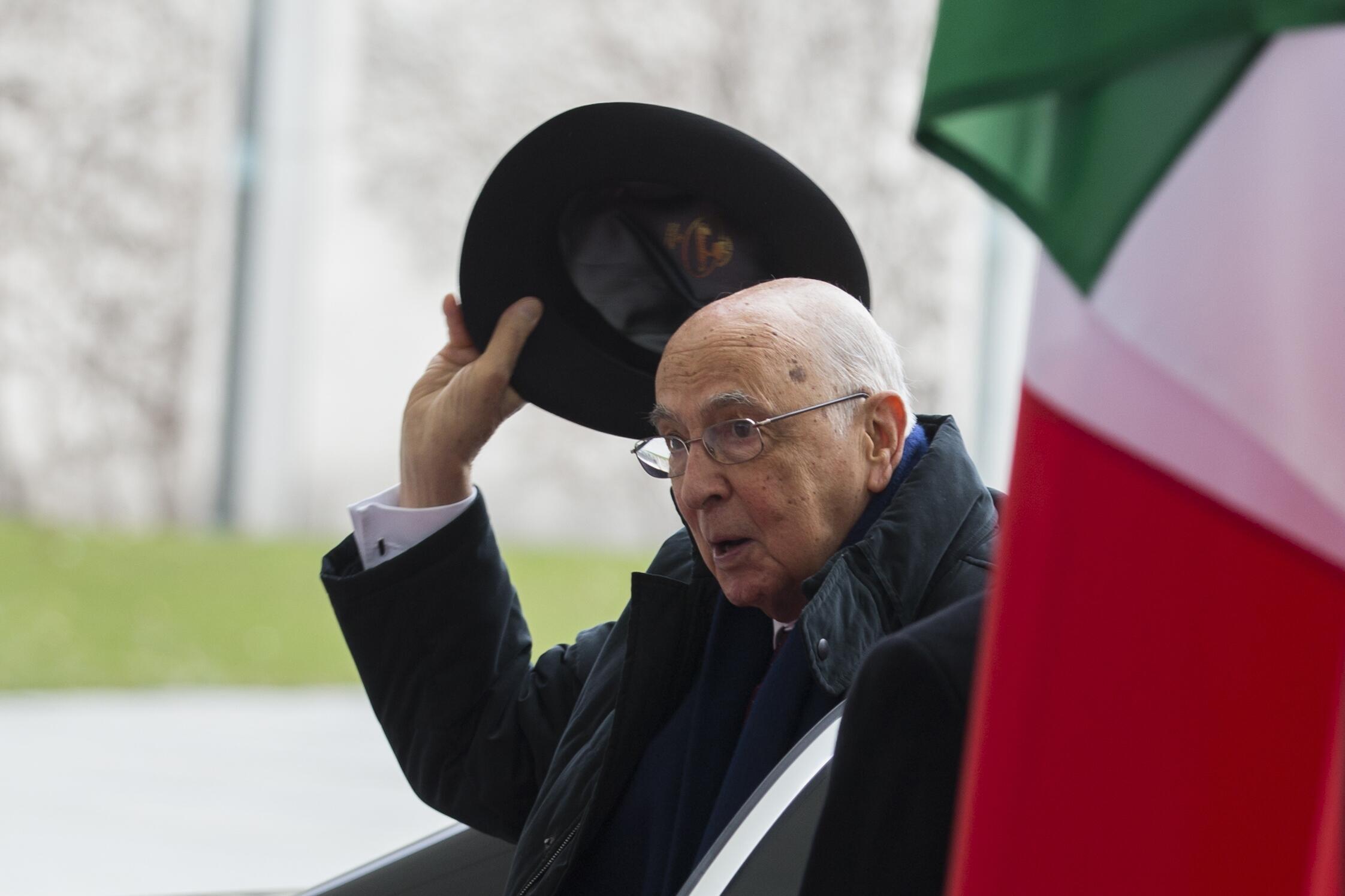 O presidente Giorgio Napolitano em Berlim, em 28 de fevereiro de 2013