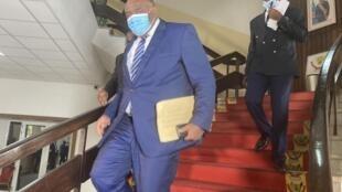 L'opposant congolais, Jean-Pierre Bemba, à la sortie de son rendez-vous avec le président Félix Tshisekedi, le 4 novembre 2020, Kinshasa.