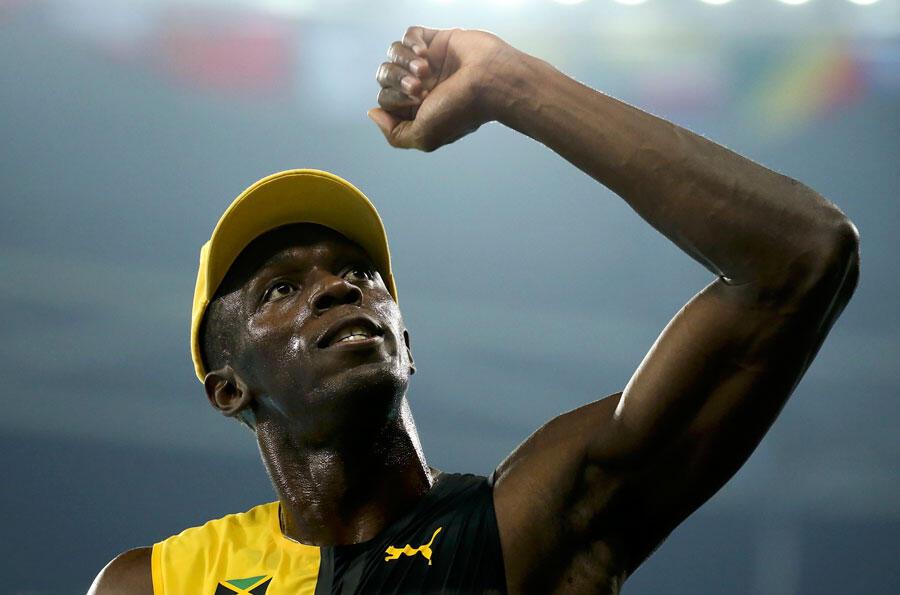 Après sa victoire aux JO 2016 de Rio, Usain Bolt est triple champion olympique en titre sur 100 mètres. Ici au Stade olympique de Rio de Janeiro, Brésil, le 14 août 2016.