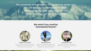 Site Eterni.me, créé par une startup américaine.