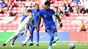 Spot on: Marcus Rashford scored the only goal in England's 1-0 win over Romania
